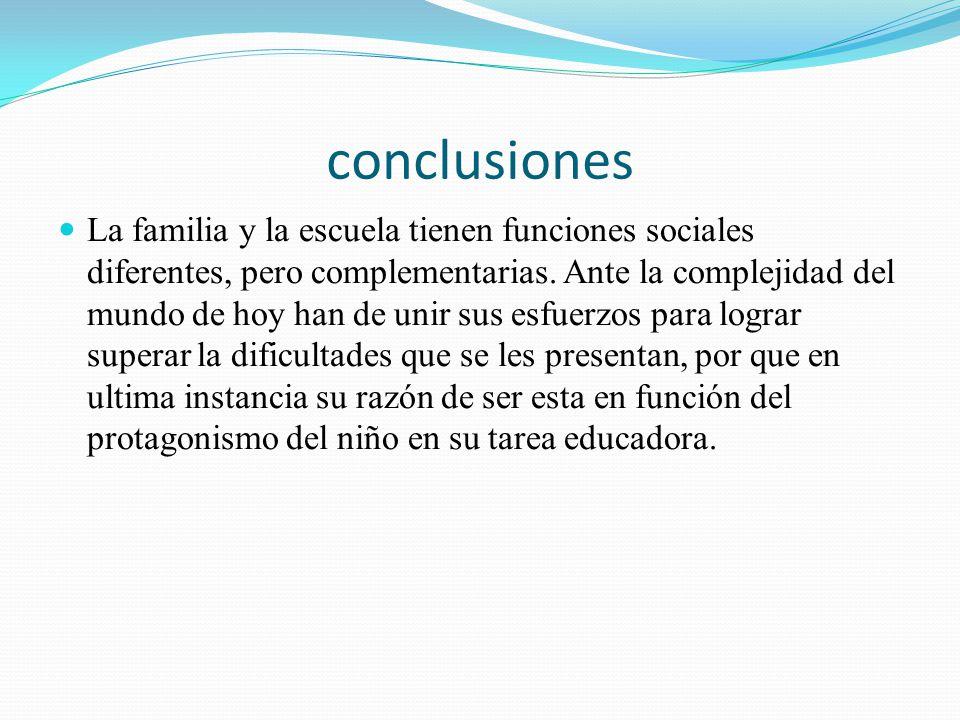 conclusiones La familia y la escuela tienen funciones sociales diferentes, pero complementarias. Ante la complejidad del mundo de hoy han de unir sus