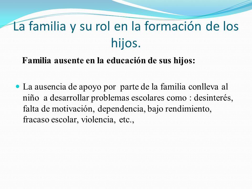 La familia y su rol en la formación de los hijos. Familia ausente en la educación de sus hijos: La ausencia de apoyo por parte de la familia conlleva