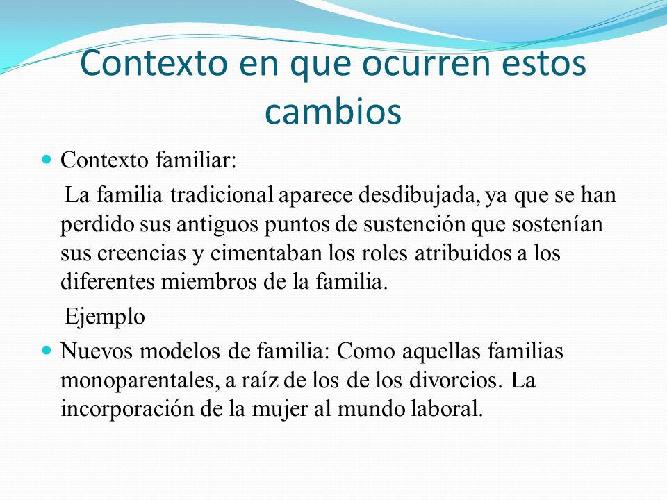 Contexto en que ocurren estos cambios Contexto familiar: La familia tradicional aparece desdibujada, ya que se han perdido sus antiguos puntos de sust