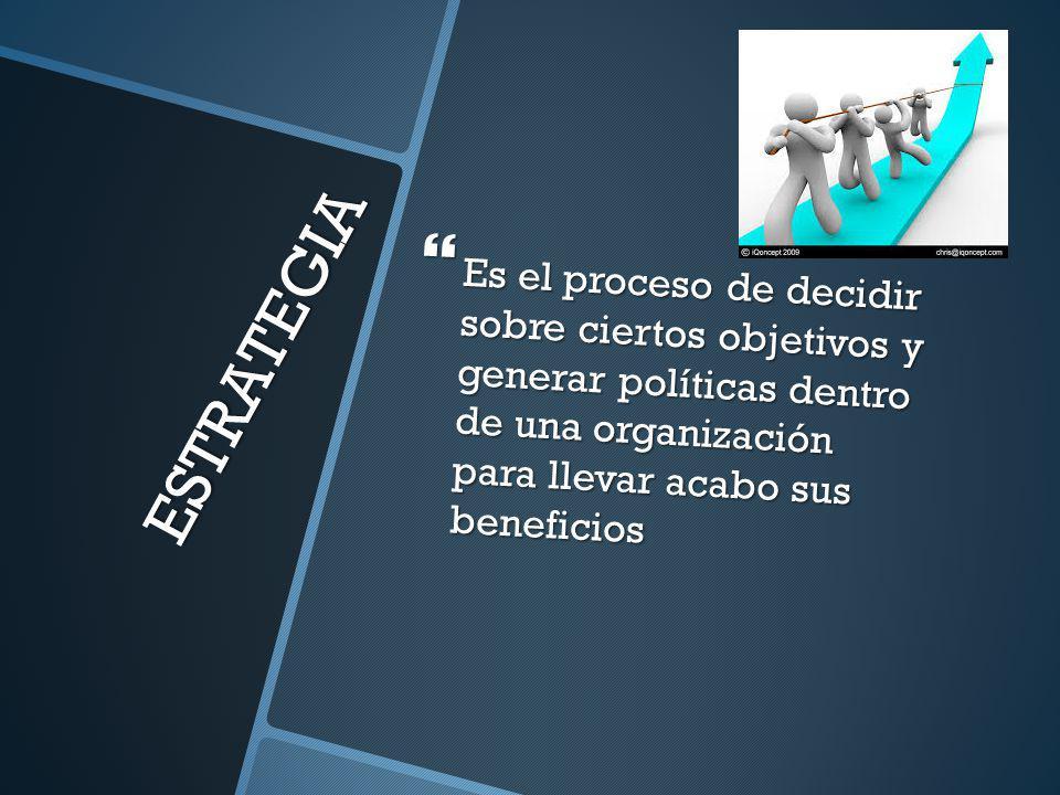 ESTRATEGIA Es el proceso de decidir sobre ciertos objetivos y generar políticas dentro de una organización para llevar acabo sus beneficios Es el proc