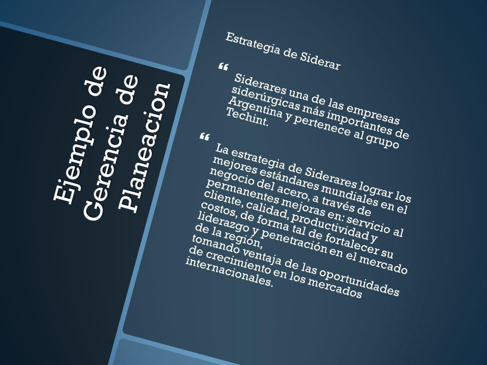 Ejemplo de Gerencia de Planeacion Estrategia de Siderar Siderares una de las empresas siderúrgicas más importantes de Argentina y pertenece al grupo T