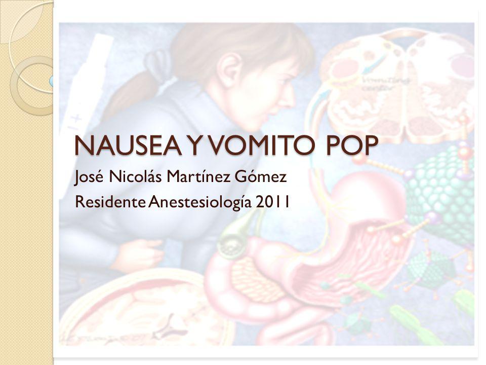 NAUSEA Y VOMITO POP José Nicolás Martínez Gómez Residente Anestesiología 2011
