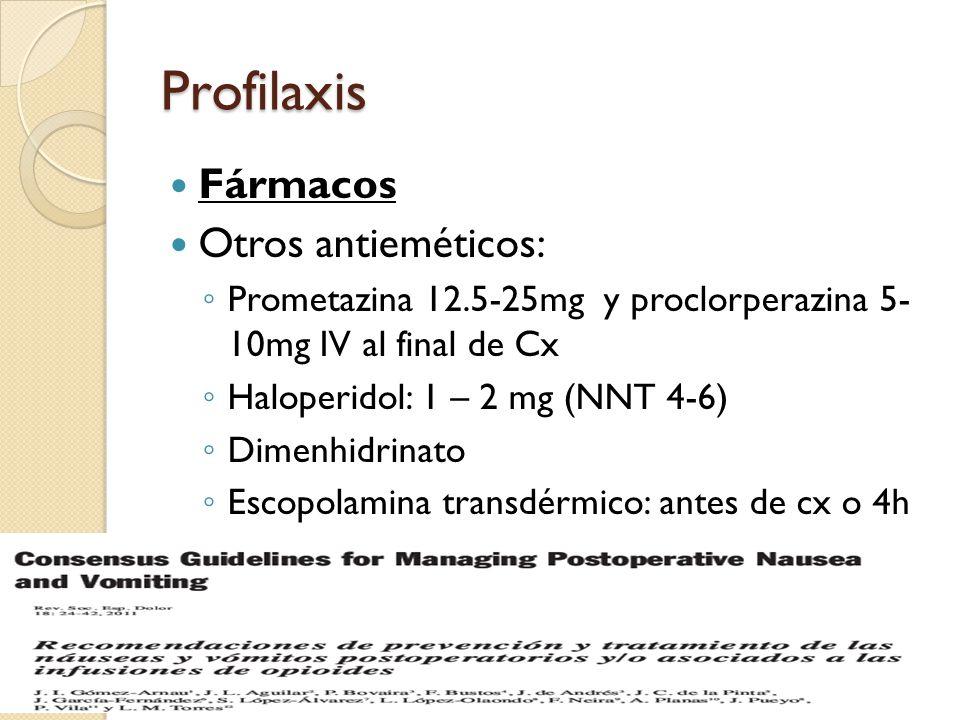 Profilaxis Fármacos Otros antieméticos: Prometazina 12.5-25mg y proclorperazina 5- 10mg IV al final de Cx Haloperidol: 1 – 2 mg (NNT 4-6) Dimenhidrina