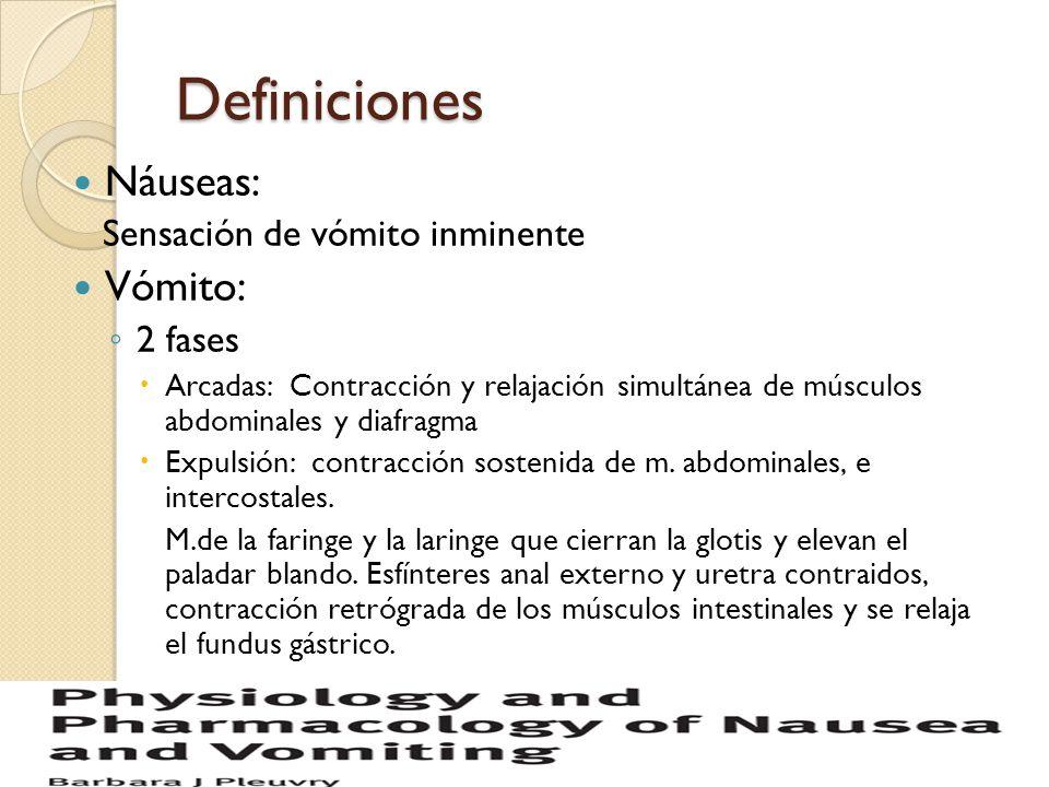 Definiciones Náuseas: Sensación de vómito inminente Vómito: 2 fases Arcadas: Contracción y relajación simultánea de músculos abdominales y diafragma E
