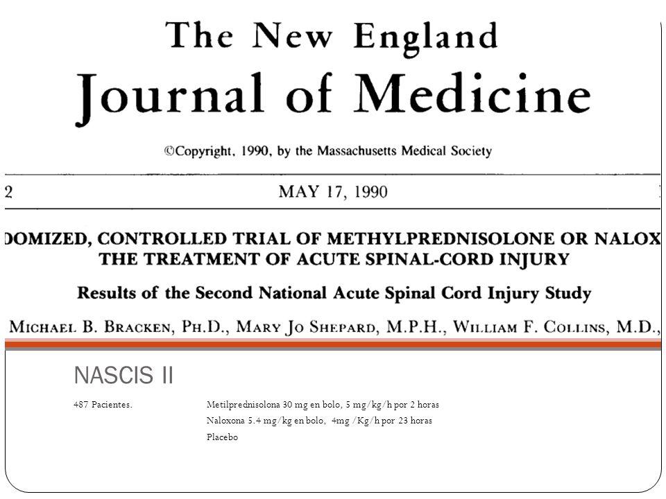 NASCIS II 487 Pacientes. Metilprednisolona 30 mg en bolo, 5 mg/kg/h por 2 horas Naloxona 5.4 mg/kg en bolo, 4mg /Kg/h por 23 horas Placebo