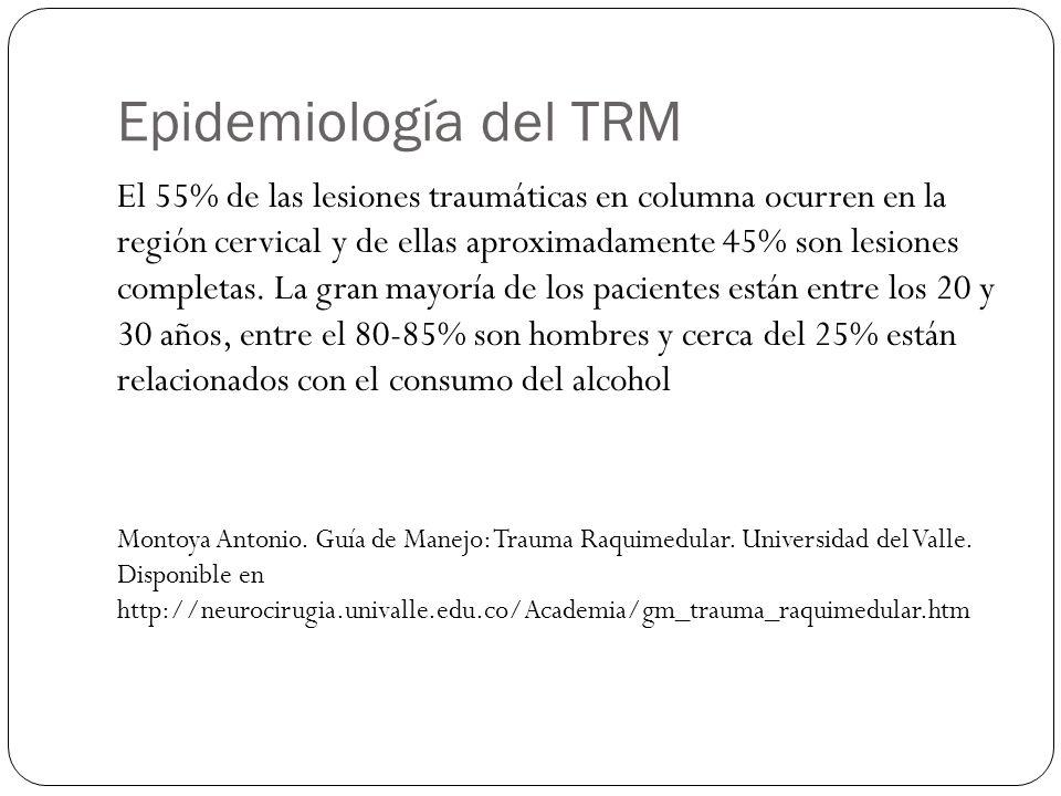 Epidemiología del TRM El 55% de las lesiones traumáticas en columna ocurren en la región cervical y de ellas aproximadamente 45% son lesiones completa