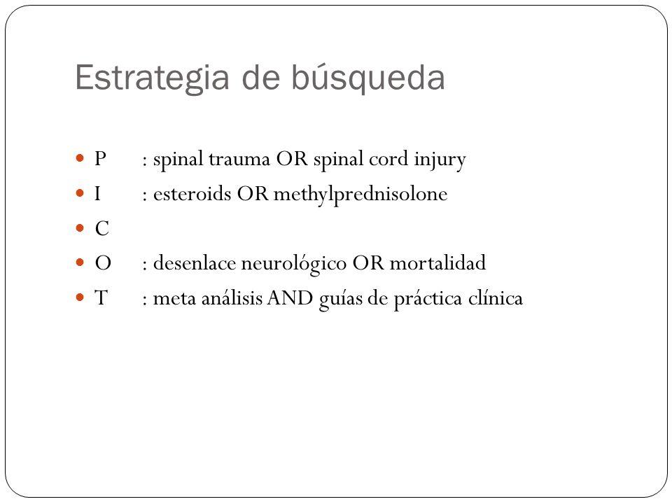 Estrategia de búsqueda P: spinal trauma OR spinal cord injury I: esteroids OR methylprednisolone C O: desenlace neurológico OR mortalidad T: meta anál