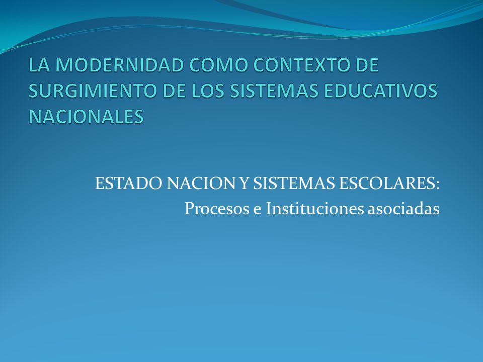 ESTADO NACION Y SISTEMAS ESCOLARES: Procesos e Instituciones asociadas