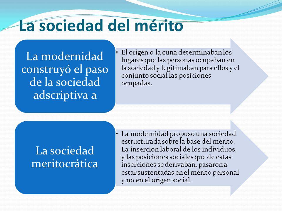 La sociedad del mérito El origen o la cuna determinaban los lugares que las personas ocupaban en la sociedad y legitimaban para ellos y el conjunto social las posiciones ocupadas.