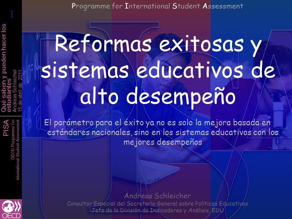 PISA OECD Programme for International Student Assessment Qué saben y pueden hacer los estudiantes Andreas Schleicher 15 de abril de 2011 Bajo desempeño en lectura Alto desempeño en lectura
