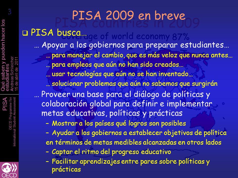 PISA OECD Programme for International Student Assessment Qué saben y pueden hacer los estudiantes Andreas Schleicher 15 de abril de 2011 Diferencias de calidad entre escuelas