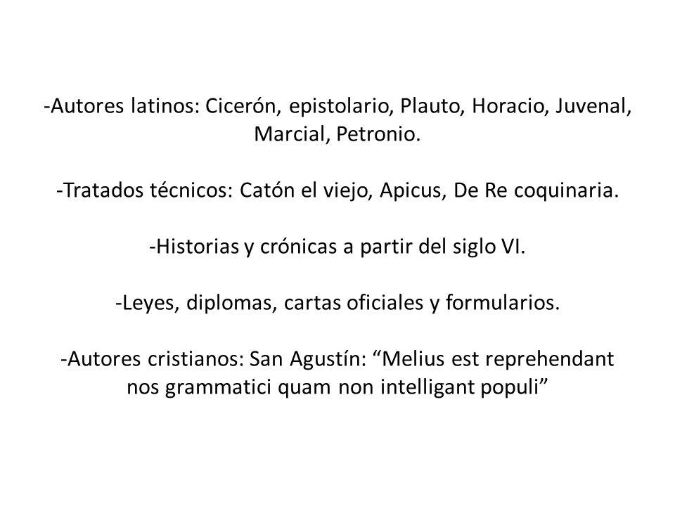 -Autores latinos: Cicerón, epistolario, Plauto, Horacio, Juvenal, Marcial, Petronio. -Tratados técnicos: Catón el viejo, Apicus, De Re coquinaria. -Hi