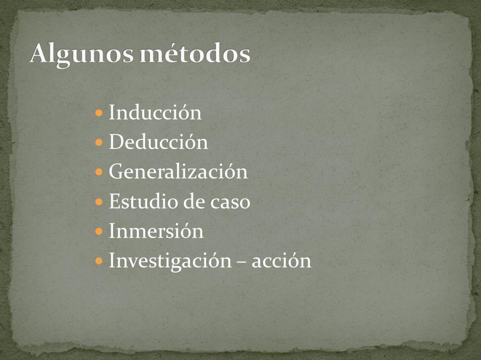 Inducción Deducción Generalización Estudio de caso Inmersión Investigación – acción