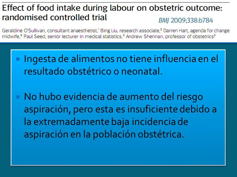 Ingesta de alimentos no tiene influencia en el resultado obstétrico o neonatal. No hubo evidencia de aumento del riesgo aspiración, pero esta es insuf