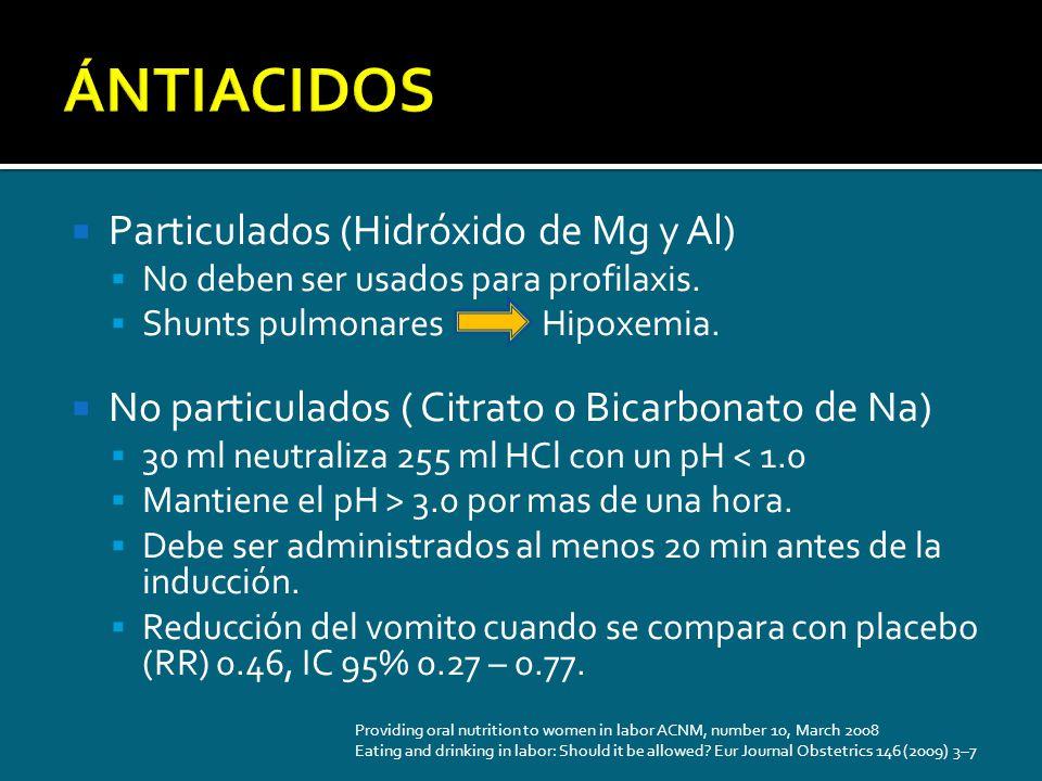 Particulados (Hidróxido de Mg y Al) No deben ser usados para profilaxis. Shunts pulmonares Hipoxemia. No particulados ( Citrato o Bicarbonato de Na) 3