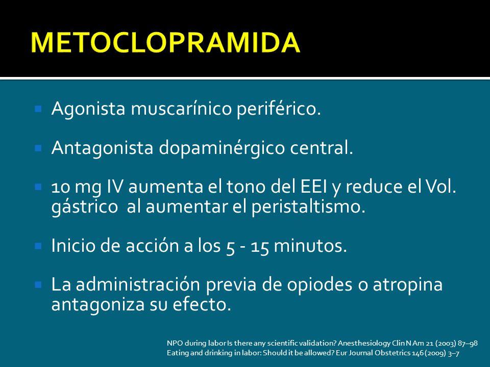 Agonista muscarínico periférico. Antagonista dopaminérgico central. 10 mg IV aumenta el tono del EEI y reduce el Vol. gástrico al aumentar el peristal