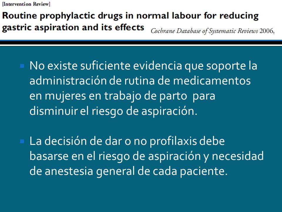 No existe suficiente evidencia que soporte la administración de rutina de medicamentos en mujeres en trabajo de parto para disminuir el riesgo de aspi