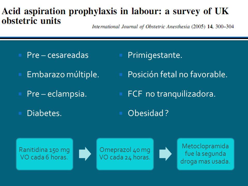 Pre – cesareadas Embarazo múltiple. Pre – eclampsia. Diabetes. Primigestante. Posición fetal no favorable. FCF no tranquilizadora. Obesidad ? Ranitidi