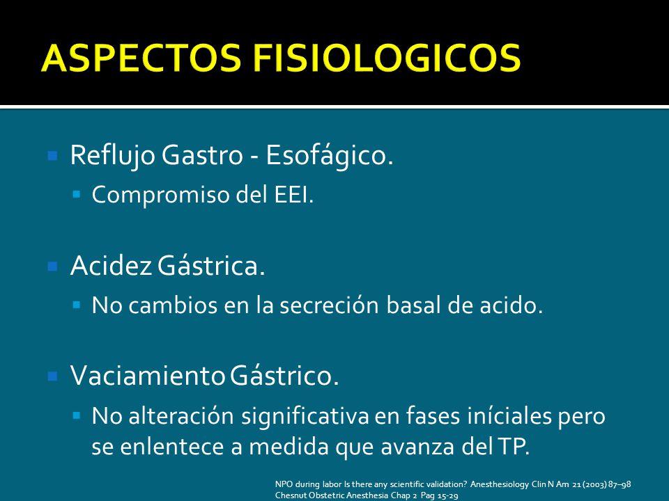 Reflujo Gastro - Esofágico. Compromiso del EEI. Acidez Gástrica. No cambios en la secreción basal de acido. Vaciamiento Gástrico. No alteración signif