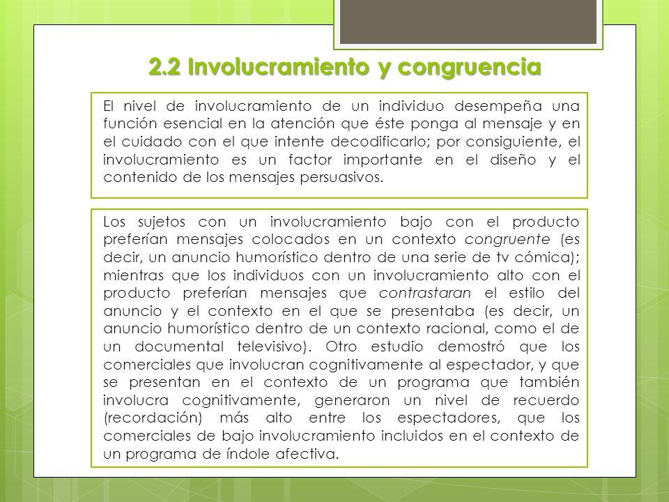 2.2 Involucramiento y congruencia El nivel de involucramiento de un individuo desempeña una función esencial en la atención que éste ponga al mensaje