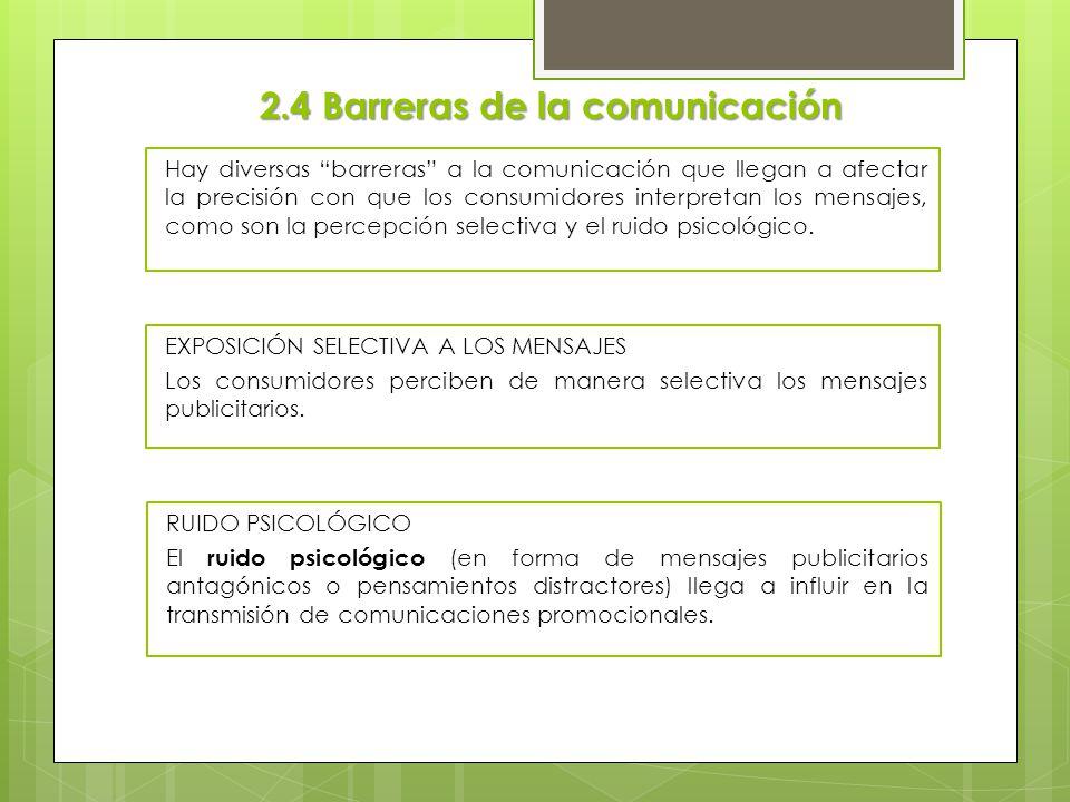 2.4 Barreras de la comunicación Hay diversas barreras a la comunicación que llegan a afectar la precisión con que los consumidores interpretan los men