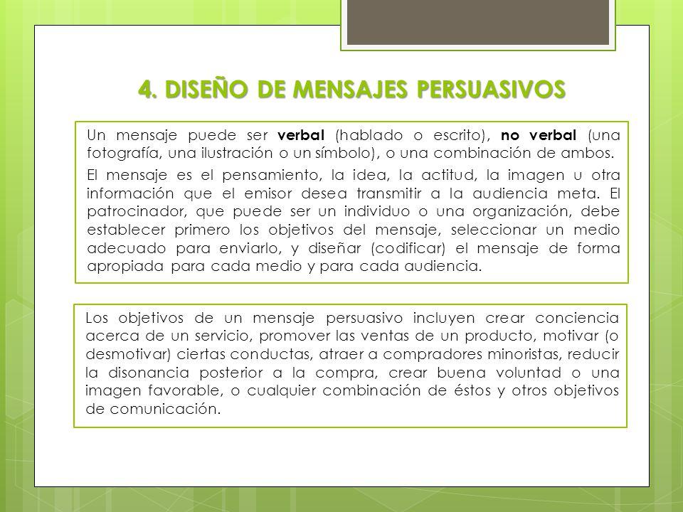 4.1 Estructura y presentación del mensaje Algunas de las decisiones que deben tomar los mercadólogos al diseñar un mensaje incluyen el uso de resonancia, contextualización positiva o negativa del mensaje, mensajes unilaterales o bilaterales, así como el orden de la presentación.