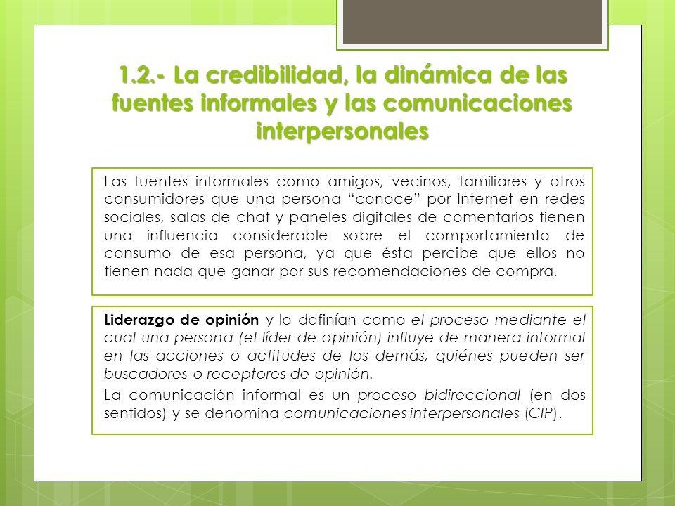 Las fuentes informales como amigos, vecinos, familiares y otros consumidores que una persona conoce por Internet en redes sociales, salas de chat y pa