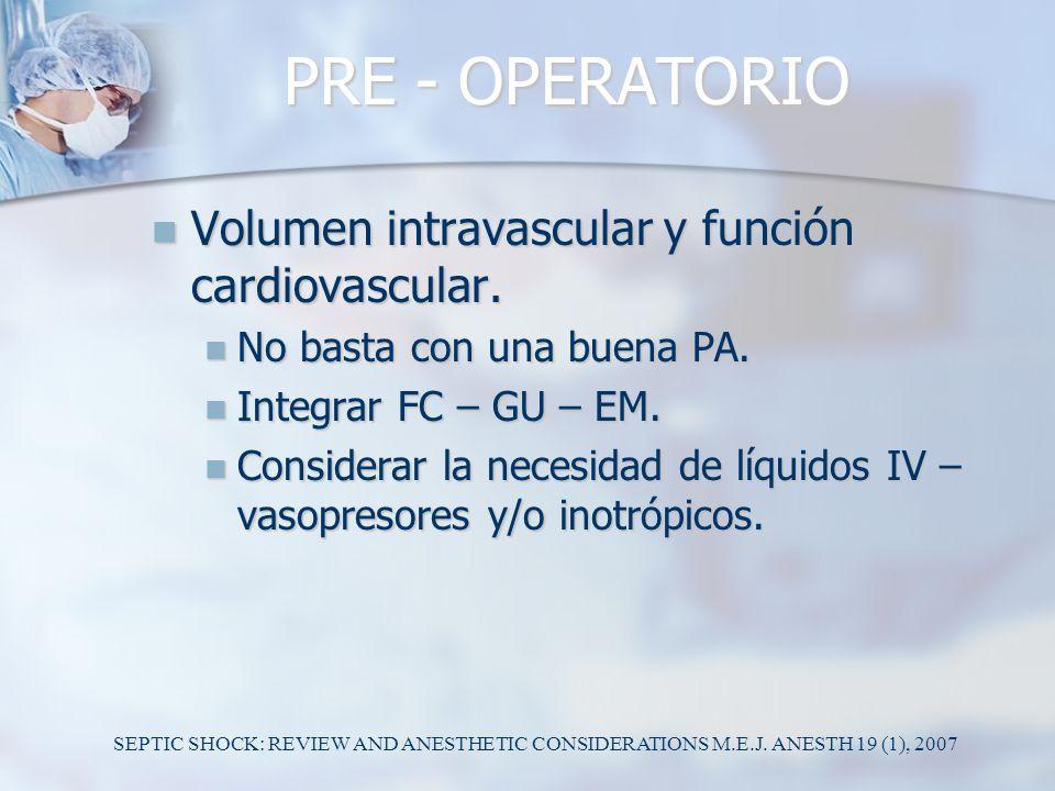 PRE - OPERATORIO Volumen intravascular y función cardiovascular. Volumen intravascular y función cardiovascular. No basta con una buena PA. No basta c