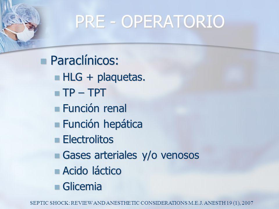 PRE - OPERATORIO Paraclínicos: Paraclínicos: HLG + plaquetas. HLG + plaquetas. TP – TPT TP – TPT Función renal Función renal Función hepática Función