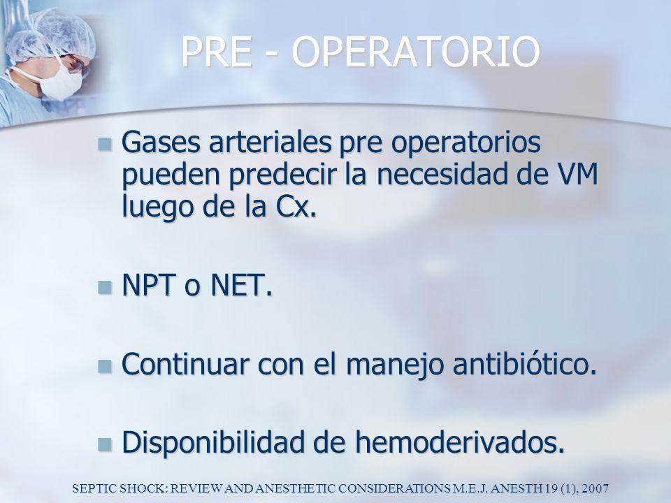 PRE - OPERATORIO Gases arteriales pre operatorios pueden predecir la necesidad de VM luego de la Cx. Gases arteriales pre operatorios pueden predecir