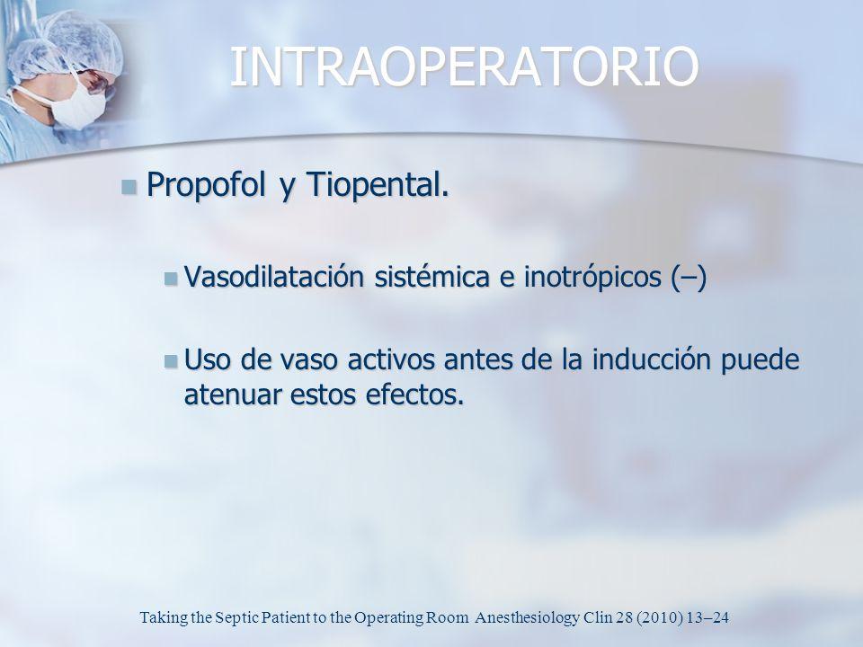 INTRAOPERATORIO Propofol y Tiopental. Propofol y Tiopental. Vasodilatación sistémica e inotrópicos (–) Vasodilatación sistémica e inotrópicos (–) Uso