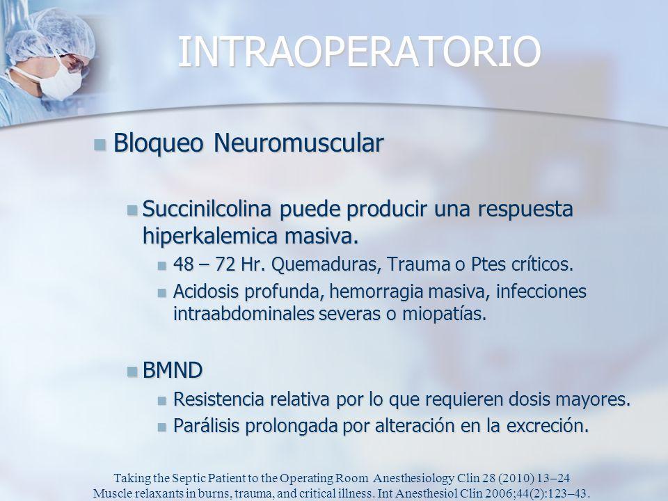 INTRAOPERATORIO Bloqueo Neuromuscular Bloqueo Neuromuscular Succinilcolina puede producir una respuesta hiperkalemica masiva. Succinilcolina puede pro