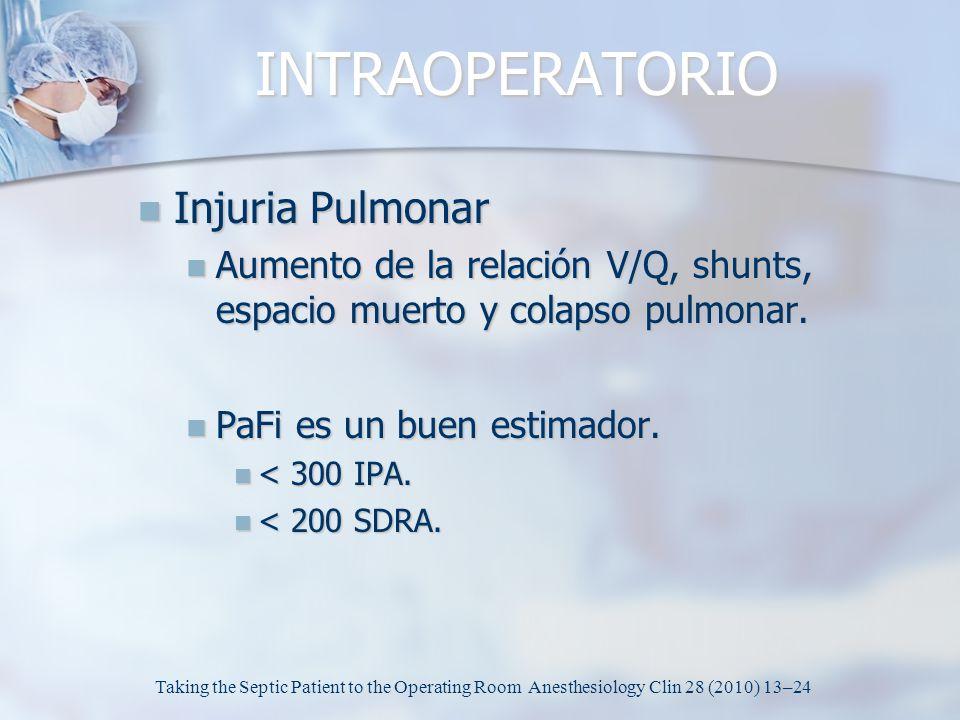 INTRAOPERATORIO Injuria Pulmonar Injuria Pulmonar Aumento de la relación V/Q, shunts, espacio muerto y colapso pulmonar. Aumento de la relación V/Q, s