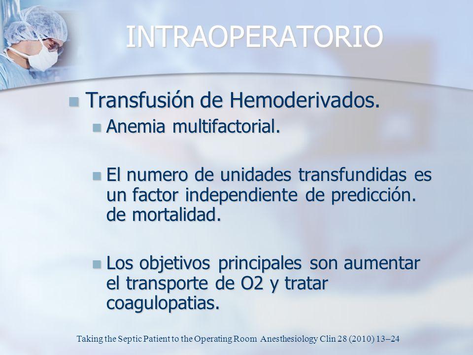 INTRAOPERATORIO Transfusión de Hemoderivados. Transfusión de Hemoderivados. Anemia multifactorial. Anemia multifactorial. El numero de unidades transf