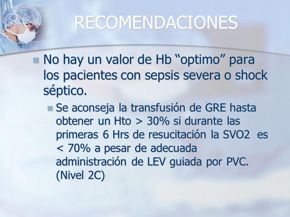 RECOMENDACIONES No hay un valor de Hb optimo para los pacientes con sepsis severa o shock séptico. No hay un valor de Hb optimo para los pacientes con