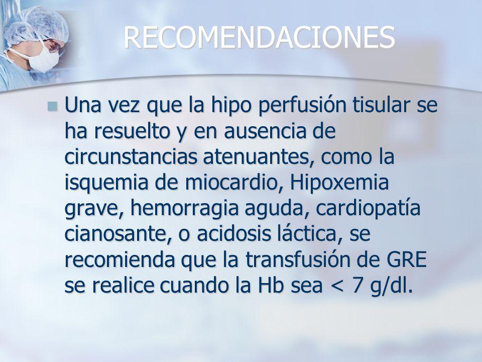 RECOMENDACIONES Una vez que la hipo perfusión tisular se ha resuelto y en ausencia de circunstancias atenuantes, como la isquemia de miocardio, Hipoxe