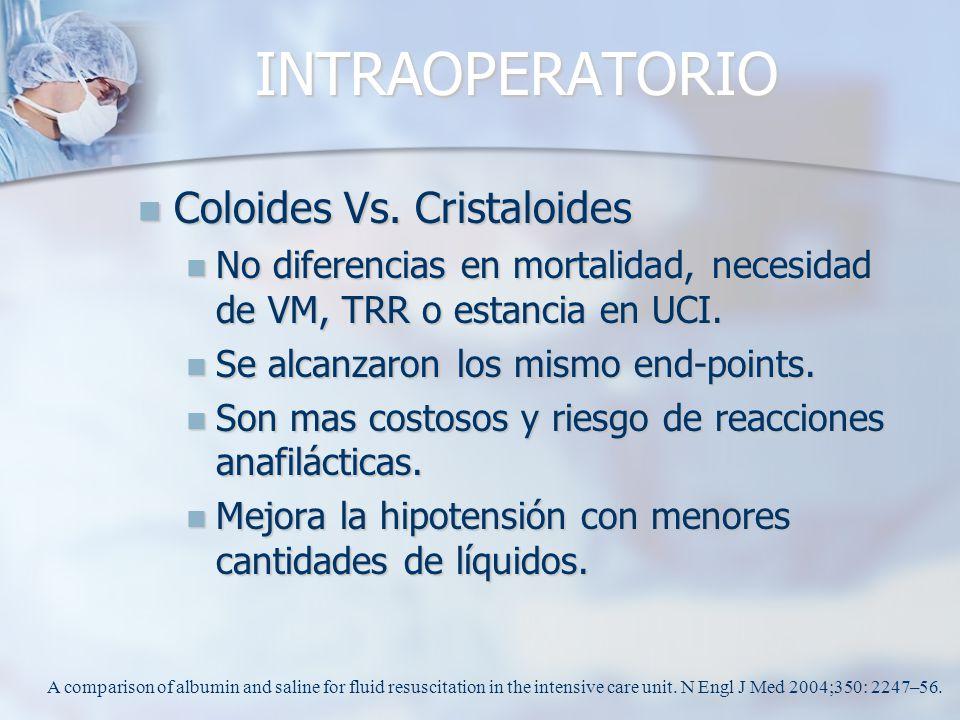 INTRAOPERATORIO Coloides Vs. Cristaloides Coloides Vs. Cristaloides No diferencias en mortalidad, necesidad de VM, TRR o estancia en UCI. No diferenci