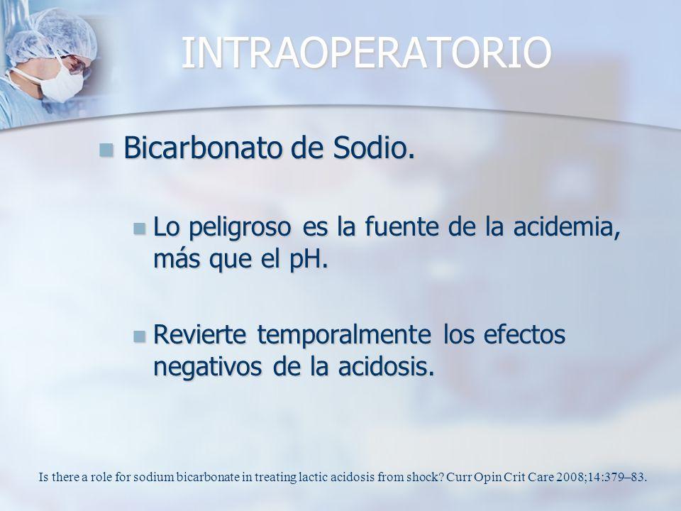 INTRAOPERATORIO Bicarbonato de Sodio. Bicarbonato de Sodio. Lo peligroso es la fuente de la acidemia, más que el pH. Lo peligroso es la fuente de la a
