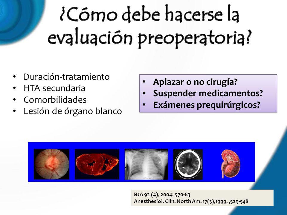 Duración-tratamiento HTA secundaria Comorbilidades Lesión de órgano blanco BJA 92 (4), 2004: 570-83 Anesthesiol. Clin. North Am. 17(3),1999,,529-548 A