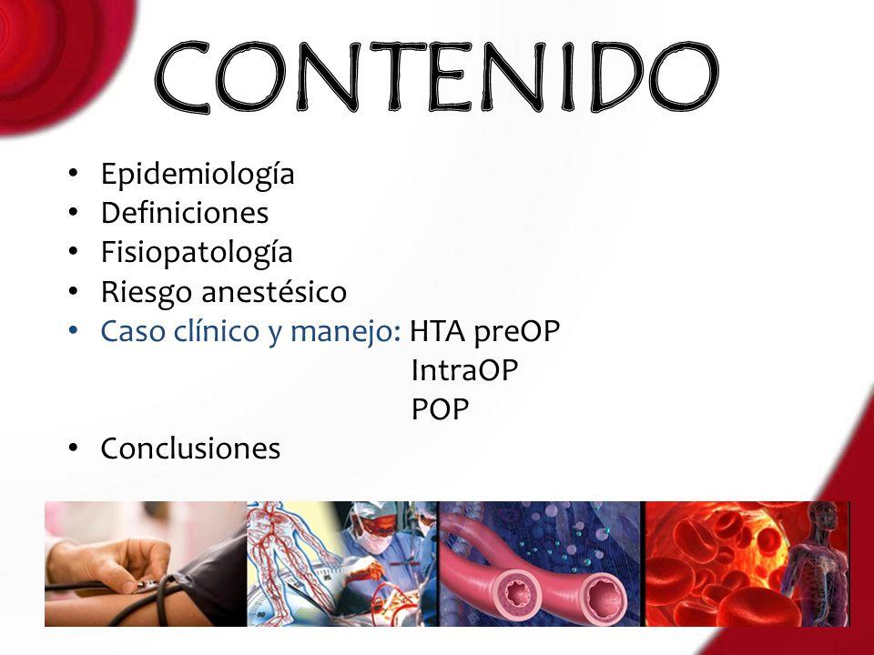 Epidemiología Definiciones Fisiopatología Riesgo anestésico Caso clínico y manejo: HTA preOP IntraOP POP Conclusiones