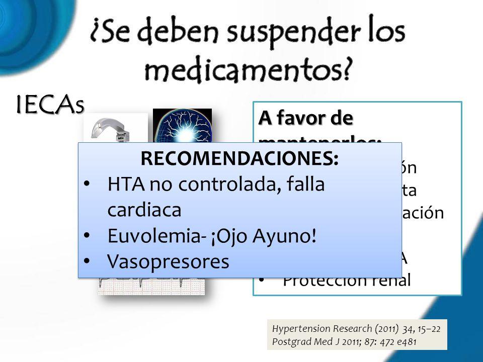 IECAs Hypertension Research (2011) 34, 15–22 Postgrad Med J 2011; 87: 472 e481 A favor de mantenerlos: Neuroprotección Menor respuesta presora a intub