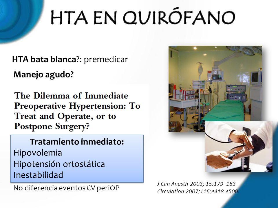 J Clin Anesth 2003; 15:179–183 Circulation 2007;116;e418-e500 HTA bata blanca?: premedicar Manejo agudo? Retrasar cirugía no mejor que manejo preOP in