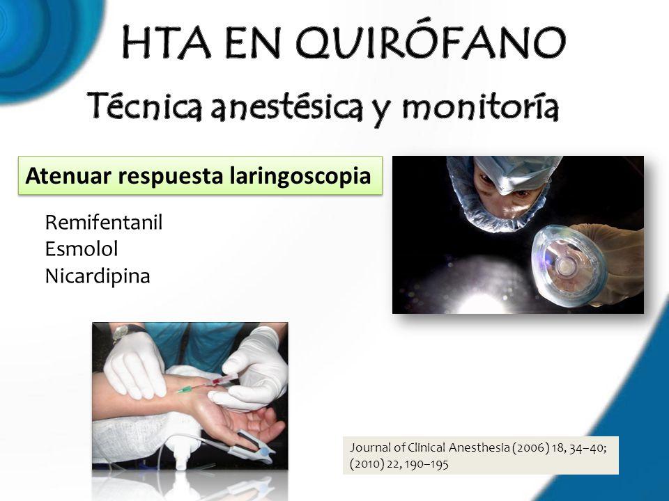 Journal of Clinical Anesthesia (2006) 18, 34–40; (2010) 22, 190–195 Remifentanil Esmolol Nicardipina Atenuar respuesta laringoscopia