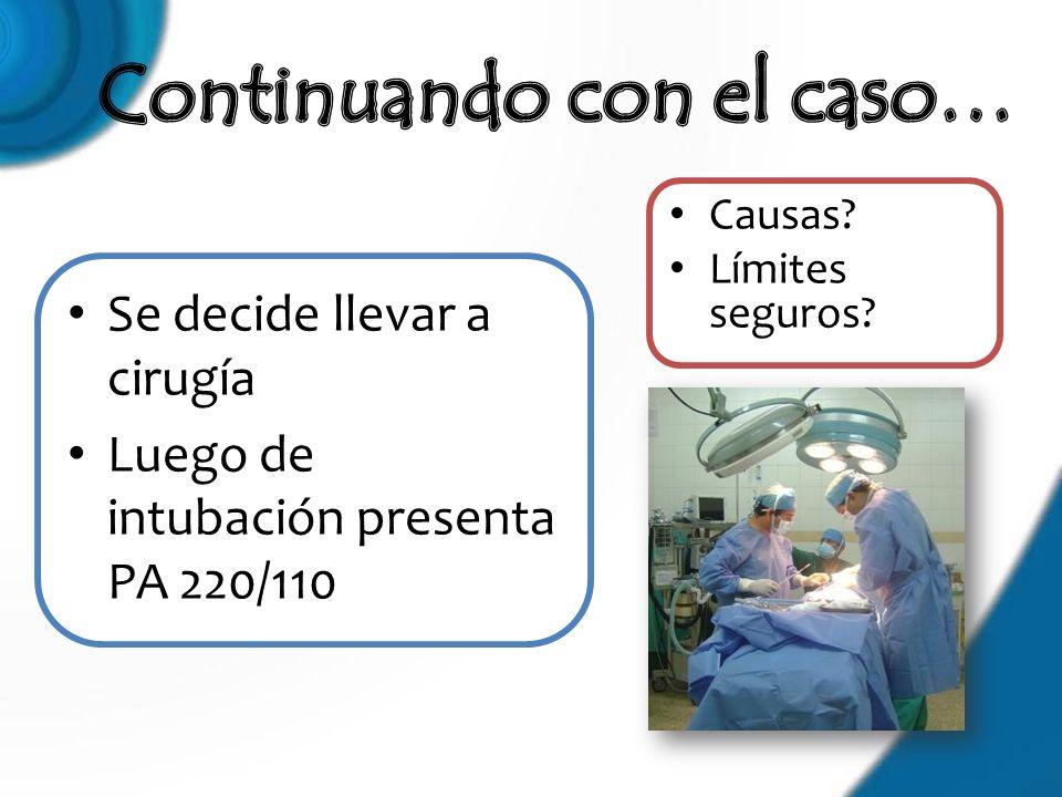 Se decide llevar a cirugía Luego de intubación presenta PA 220/110 Causas? Límites seguros?