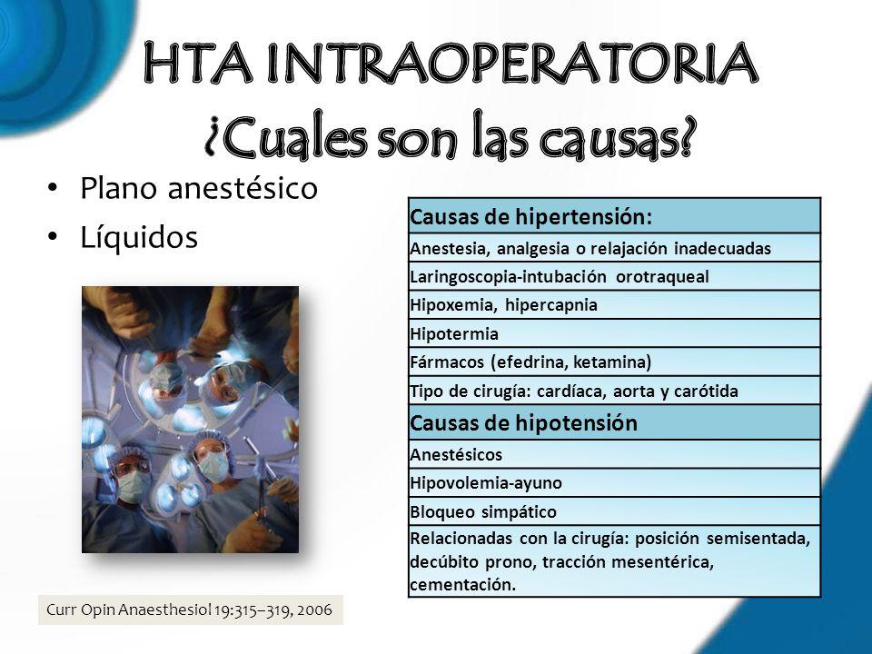Plano anestésico Líquidos Causas de hipertensión: Anestesia, analgesia o relajación inadecuadas Laringoscopia-intubación orotraqueal Hipoxemia, hiperc