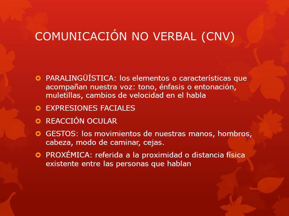 COMUNICACIÓN NO VERBAL (CNV) PARALINGÜÍSTICA: los elementos o características que acompañan nuestra voz: tono, énfasis o entonación, muletillas, cambi