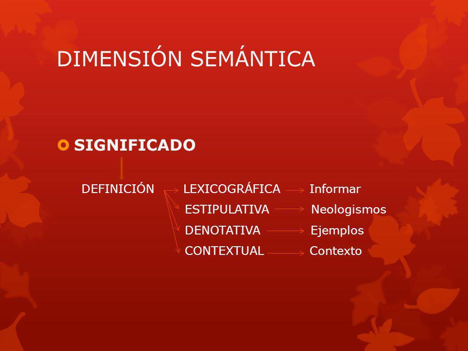 DIMENSIÓN SEMÁNTICA SIGNIFICADO DEFINICIÓN LEXICOGRÁFICA Informar ESTIPULATIVA Neologismos DENOTATIVA Ejemplos CONTEXTUAL Contexto