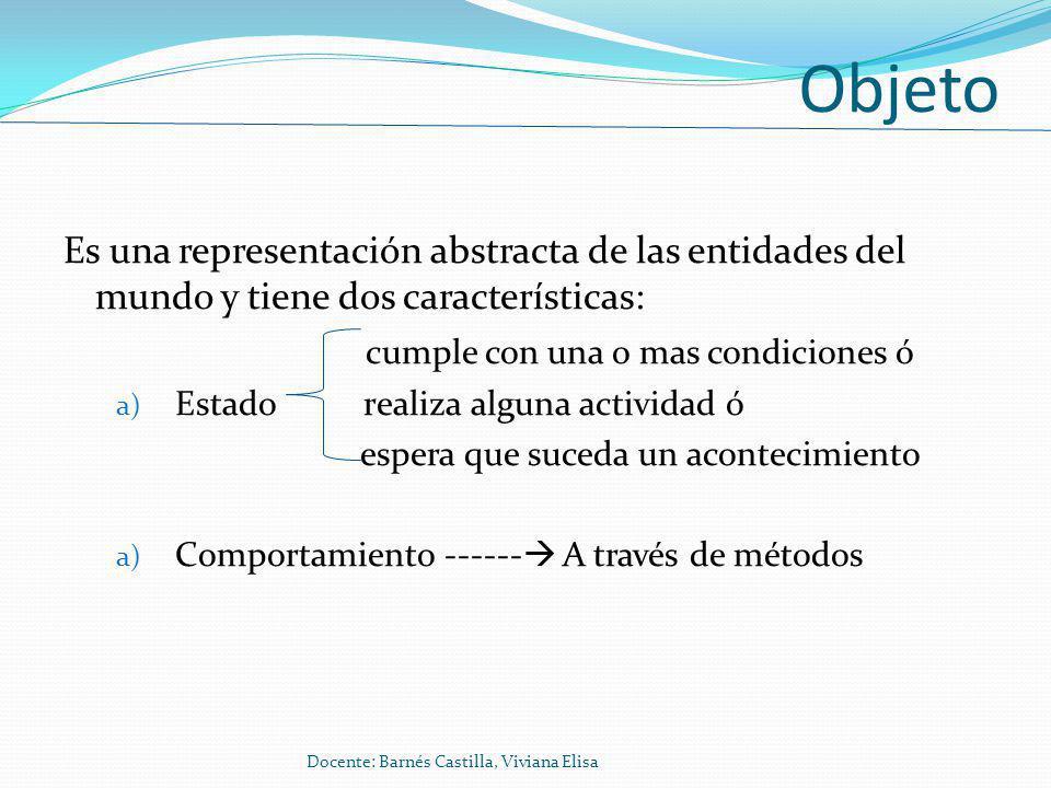 Objeto Es una representación abstracta de las entidades del mundo y tiene dos características: cumple con una o mas condiciones ó a) Estado realiza alguna actividad ó espera que suceda un acontecimiento a) Comportamiento ------ A través de métodos Docente: Barnés Castilla, Viviana Elisa