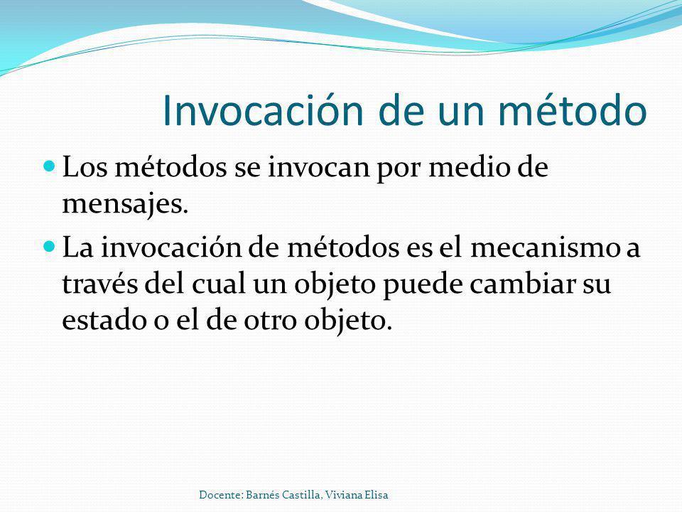 Invocación de un método Los métodos se invocan por medio de mensajes.