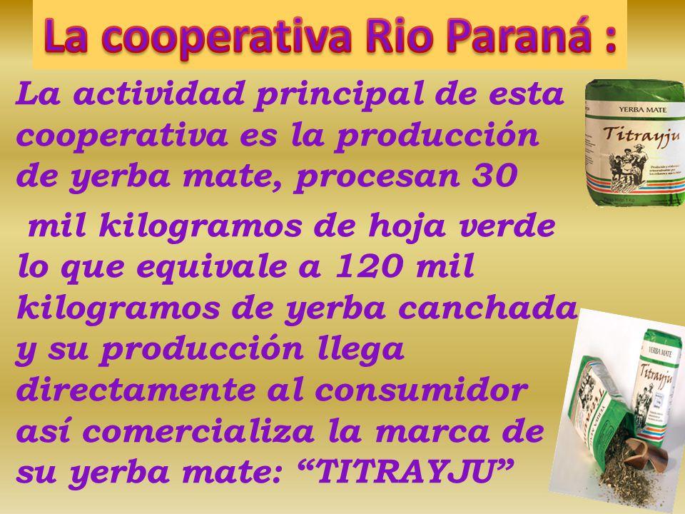 Es un proceso elevado a cabo por maría duarte, ella realizo un convenio con la cooperativa rio Paraná, por el cual le provee la yerba mate.. Los benef